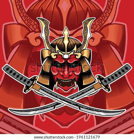 japanese mask with 2 samurai