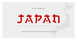 Japanese modern style alphabet font typeface. Typography japan asian fonts and number. English letters uppercase and numbers. Vector Illustration