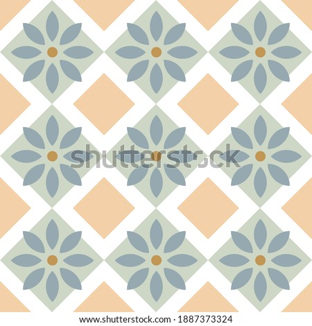 Japanese motif cute baby pattern traditional Japan geometric ornament. Minimalist background simple geo all over print block for kids fashion textile, towel, shirt fabric, interior wallpaper, cards. Stock foto ©