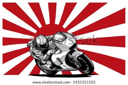 Japanese motorcycle yakuza gangs with flag of rising sun vector ストックフォト ©
