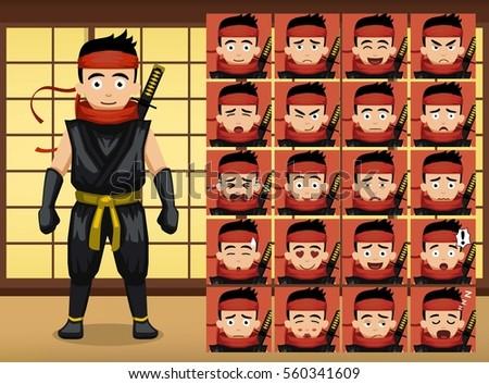 japanese ninja cartoon emotion
