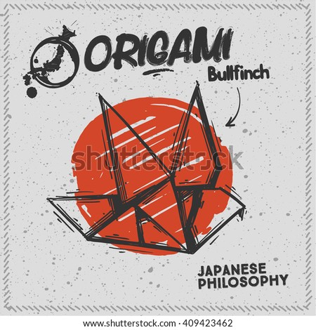 japanese origami bullfinch on a