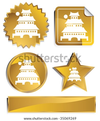 japanese pagoda icon gold
