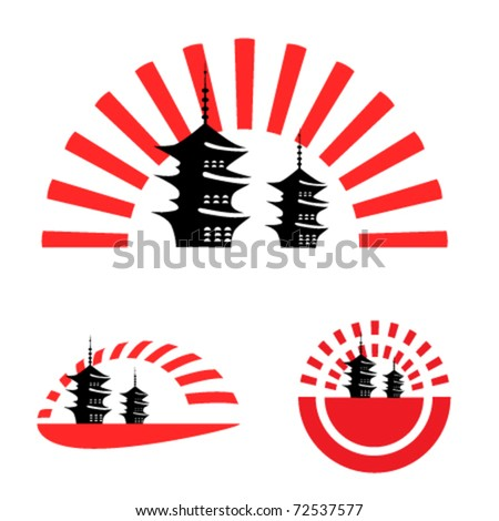 japanese pagoda illustrations