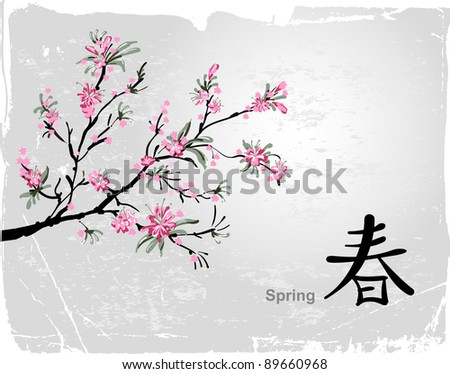 Sakura Flower Picture on Japanese Sakura Painting