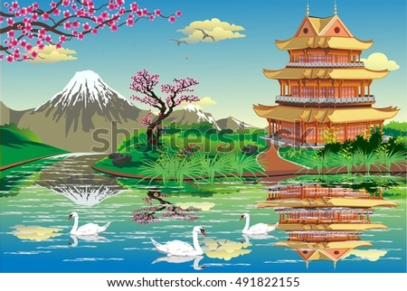 japanese palace on a river with