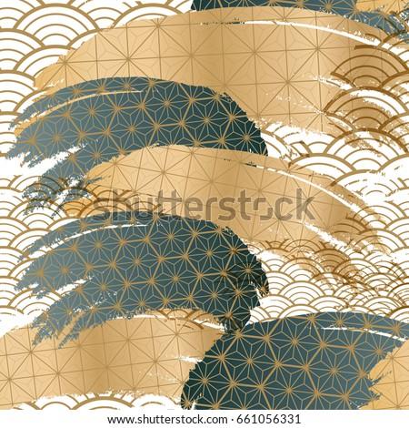 Japanese pattern background. Collage design vector.