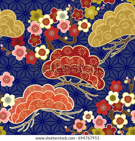 Japanese pattern. Cherry blossom. Ornament with oriental motifs. Vector.