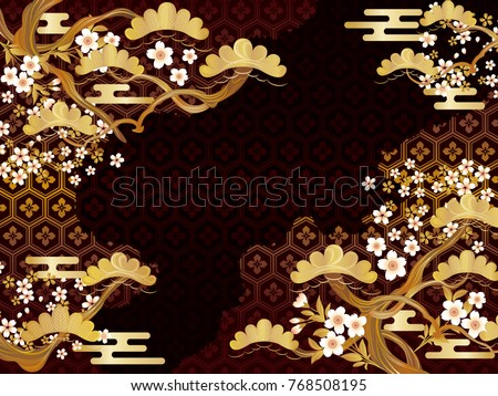 Japanese pattern of pine and flowers background material