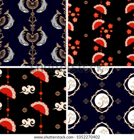 Japanese pattern set. Chinese and Japanese seamless ornaments with fans and pine tree. Oriental traditional vector.