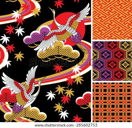 japanese pattern set. seamless...