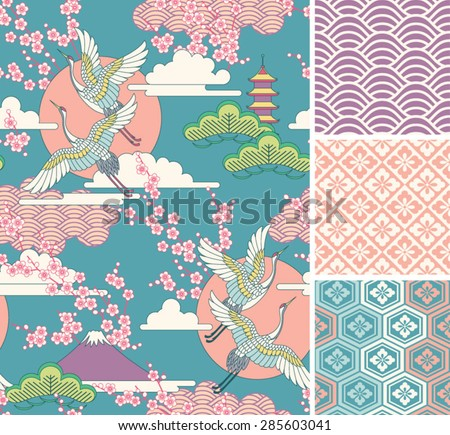 Japanese pattern set Seamless vector ornaments with traditional motives