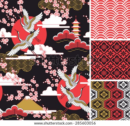 japanese pattern set seamless