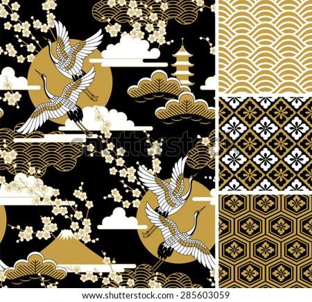 japanese pattern set seamless