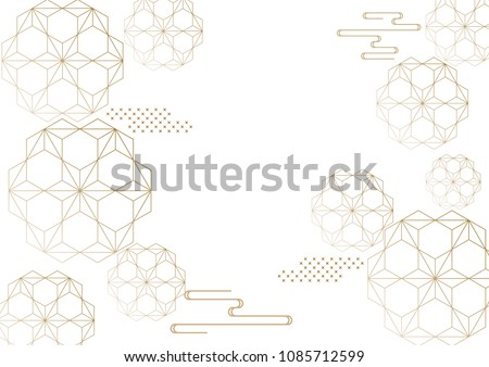 Japanese pattern template. Line geometric background. Oriental elements vector.