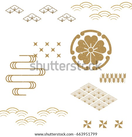 Japanese Pattern vector background. Classic icon from Japan. Flower, wave. tree icons and elements.