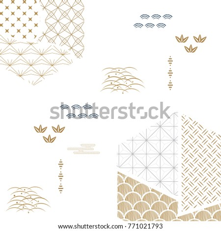 Japanese pattern vector. Gold and blue geometric background.
