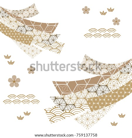 Japanese pattern vector. Gold geometric background in traditional of Japan for card, poster, template, cover page design. Decoration elements.