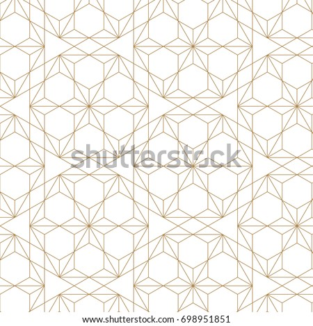 Japanese pattern vector. Gold geometric background texture.