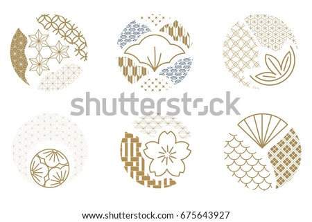 Japanese pattern vector. Gold geometric icon and logo.