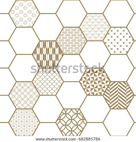 Japanese pattern vector. Gold geometry background.Hexagon shapes wood work.