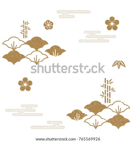 Japanese pattern vector. Gold icons and symbols of traditional in Japan.