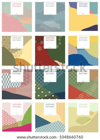 Japanese pattern vector. Season background for invitation card, wedding, poster, backdrop, wallpaper. Collage style with traditional of Japan texture.