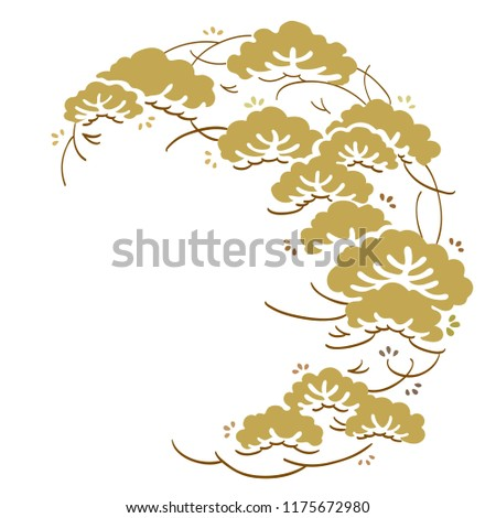 Japanese pine template vector. Tree elements background.