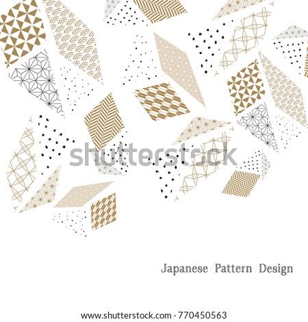 Japanese poster style. Gold geometric in artistic cards with abstract shapes for cover page design, wedding, marriage, bridal, birthday, Valentine's day.