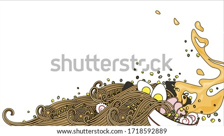 Japanese ramen noodles soup with egg, pork, nori, onion, corn. Vector illustration with free spase for text ストックフォト ©