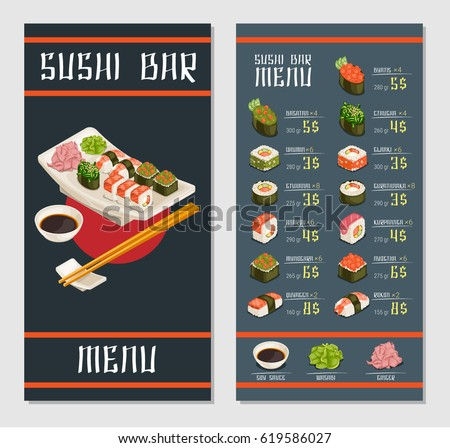 Japanese restaurant menu template with different kinds of sushi rolls bowl of soy sauce ginger wasabi vector illustration