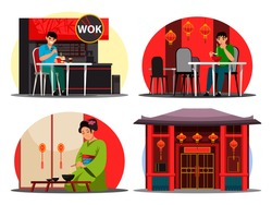 Japanese restaurant set. Character man eats noodles from box or cup, woman in kimono enjoys traditional Asian food. Interior design wok cafe, sushi bar. Japan kitchen or culture. Vector illustration