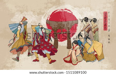 Japanese samurai and geishas. Ancient illustration. Classical engraving art. Asian culture. Kabuki actors. Medieval Japan background