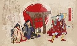 Japanese samurai and geishas. Ancient illustration. Kabuki actors. Medieval Japan background. Classical engraving art. Asian culture