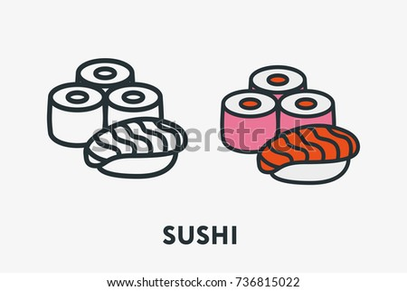 Japanese Seafood Cuisine Concept Sushi Roll Salmon Rice Minimal Flat Line Outline Colorful and Stroke Icon Pictogram