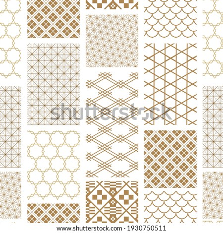Japanese seamless pattern background vector. Gold geometric cover design , poster, card, template in vintage style. Сток-фото ©