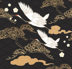 Japanese seamless pattern with crane birds elements vector. Asian background with oriental decoration such as hand drawn bonsai tree and cherry blossom flower icon in vintage style.