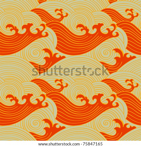 Japanese seamless waves pattern in warm colors