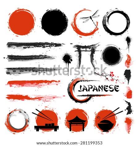 japanese set of brushes and