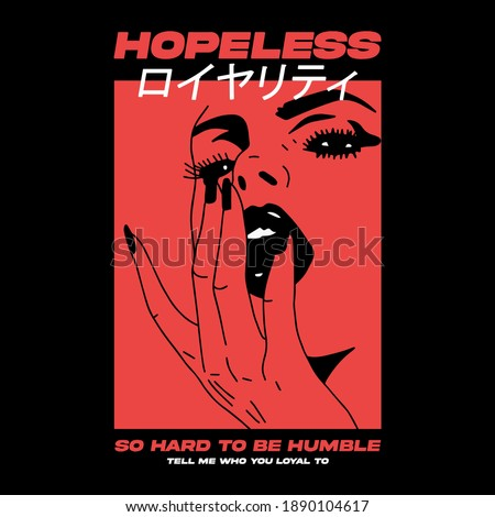 """Japanese slogan with pop art face Translation: """"Loyalty."""" Vector design for t-shirt graphics, banner, fashion prints, slogan tees, stickers, flyer, posters and other creative uses"""