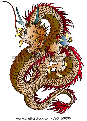 Japanese style dragon illustration, I designed an Oriental dragon, A vector work,