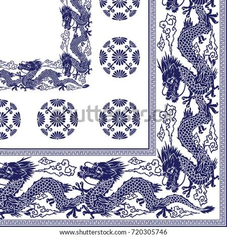 japanese style dragon scarf