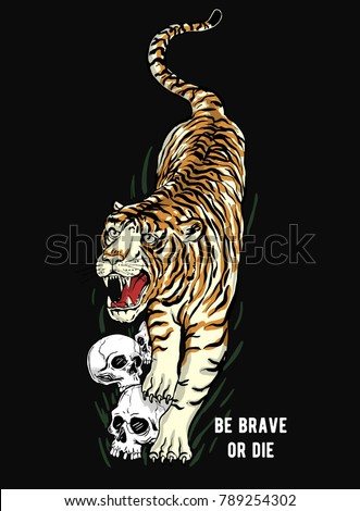 japanese style tiger vector