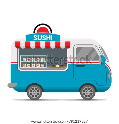 Japanese sushi street food caravan trailer. Colorful vector illustration, cartoon style, isolated on white background