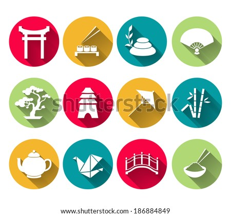 japanese symbols icons set of