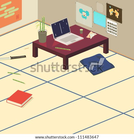 Japanese tatami mat room with laptop and sword - stock vector