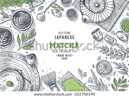 Japanese tea ceremony. Tea table background. Engraved style illustration. Matcha tea. Vector illustration