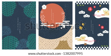 Japanese template vector. Blue background with Japanese icons. Abstract banner with bamboo, sun, cloud, cherry blossom , birds, pine tree and Fuji mountain elements in poster design.