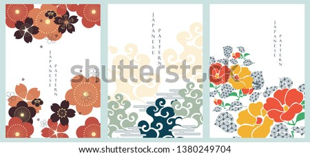 Japanese template vector. Flower and cloud illustration background. Cherry blossom pattern. Asian traditional poster style.