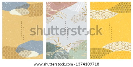 Japanese template vector. Geometric pattern background. Abstract shape elements. Oriental elements in Asian style.